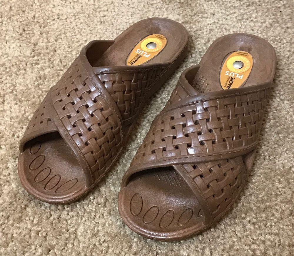 7a6ec548d2ab Okabashi Womens Size S Shoes Magne Plus Sandals Slides Slip On Brown Weave  Flop