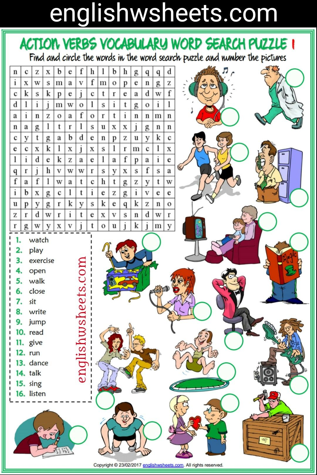 Action Verbs Esl Printable Word Search Puzzle Worksheets For Kids