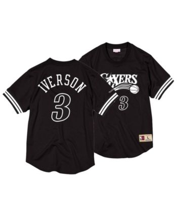 e835c67727b5 Mitchell   Ness Men s Allen Iverson Philadelphia 76ers Black   White Mesh  Name and Number Crew Neck Jersey - Black S