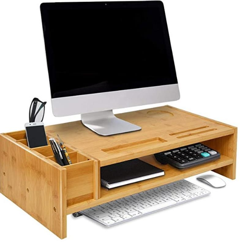 Bamboo Monitor Stand Wood Computer Monitor Riser Wooden Desk Etsy In 2020 Wooden Desk Organizer Wooden Desk Monitor Riser