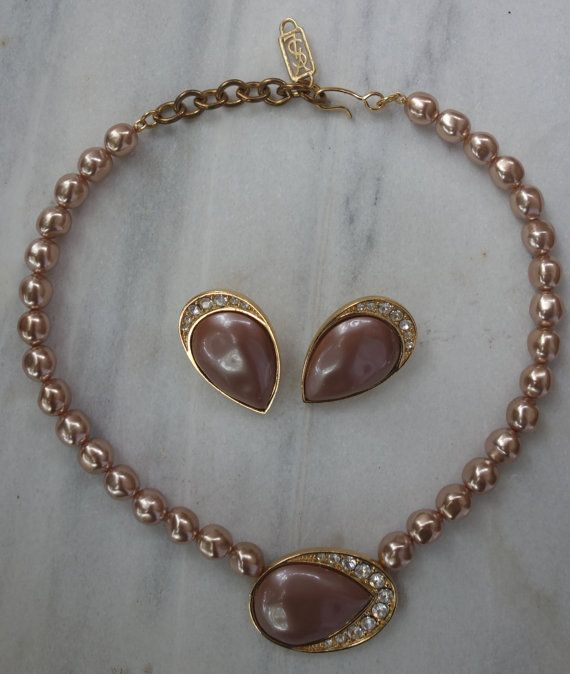 9f6b5c77eae YSL Yves Saint Laurent Signed set Necklace and by Vintageables ...