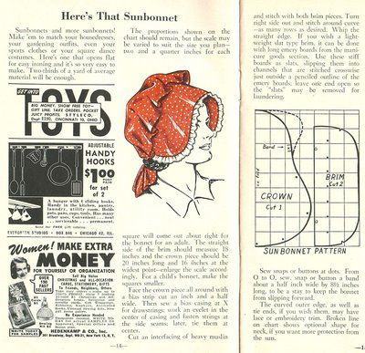 """From The Workbasket (June 1952), a pattern for a sunbonnet """"to match your housedresses, your gardening outfits, even your sports clothes or your square dance costumes."""""""