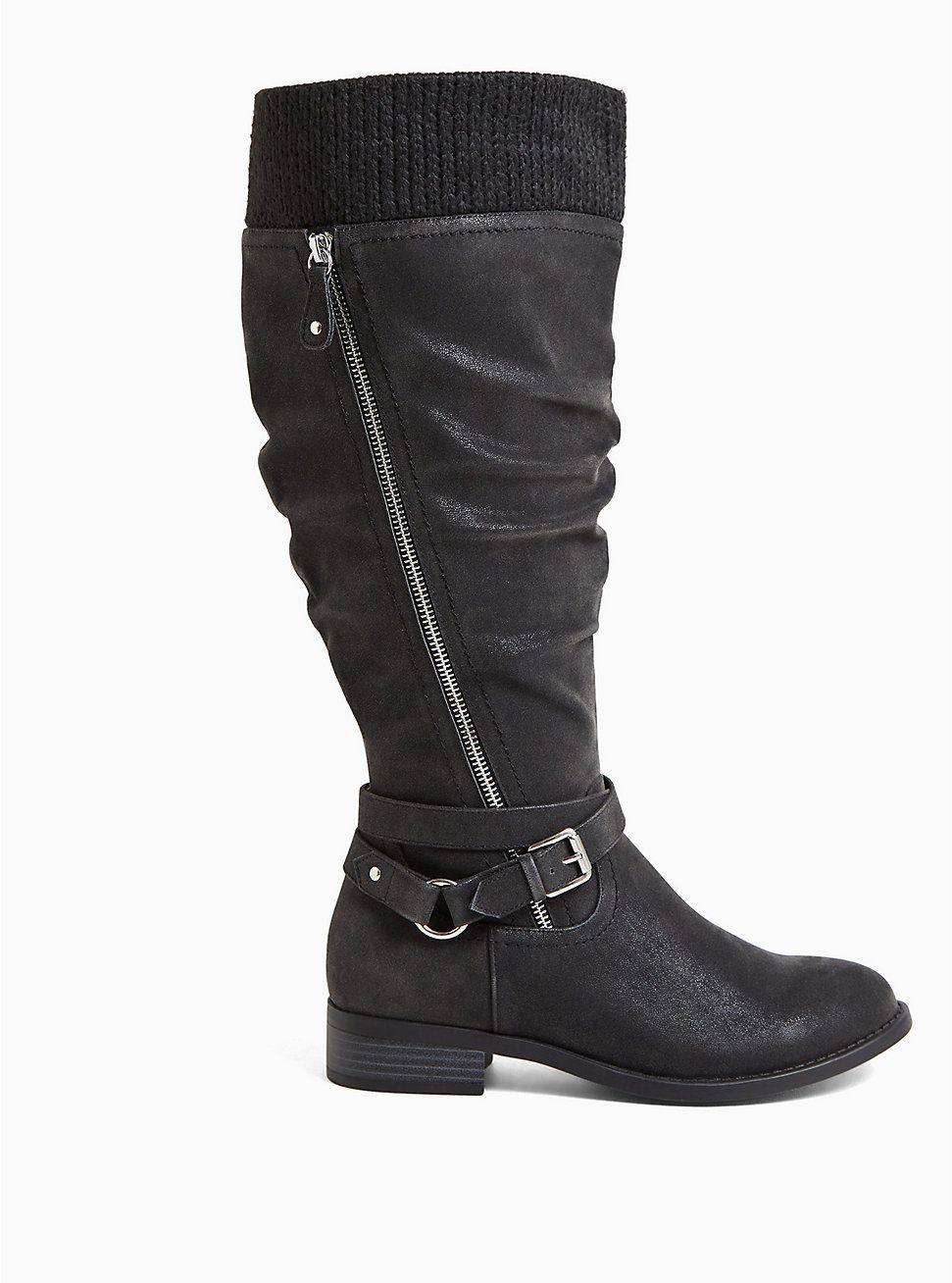 Black Oiled Sweater Trimmed Buckle Knee-High Boot