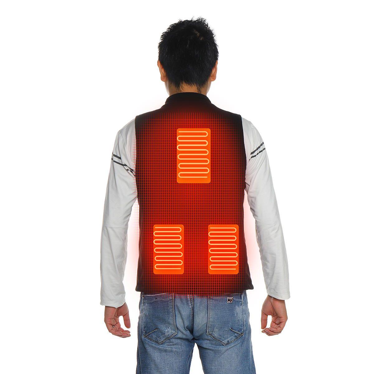 Electric Heated Vest Jacket USB Warm Up Heating Pad Body Warmer Clothing Men UK