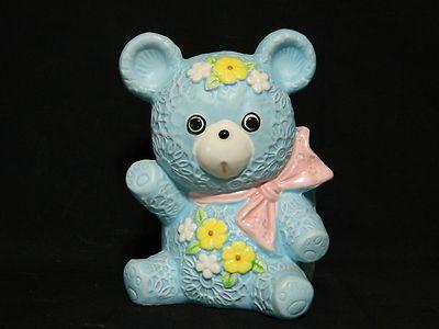 $19.99 Vintage 1950's Inarco CB 2016 Blue Teddy Bear Flower Baby Planter Cache Pot