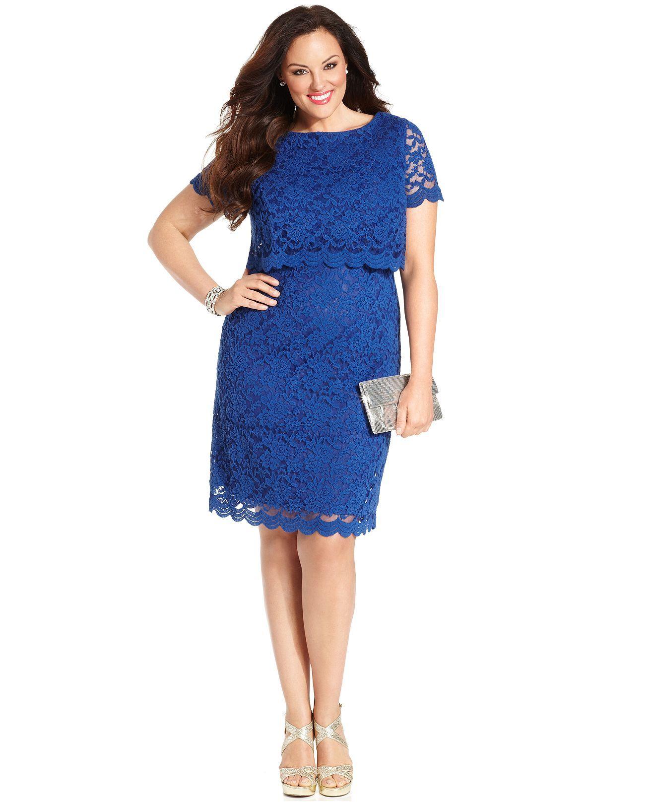 London Times Plus Size Dress, Short-Sleeve Lace Sheath - Plus Size ...
