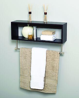 Satin Nickel & Espresso Bath Storage Cube Shelf Toilet Paper ...