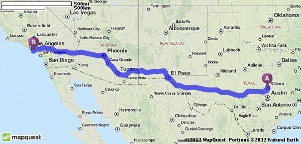 Driving Directions From 404 Eric Dr Killeen Texas 76542 To Long Beach California Mapquest Bullhead City Long Beach Ensenada