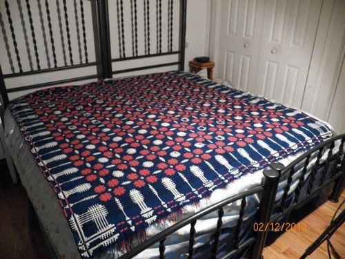Antique Red White and Blue Homespun Coverlet | eBay