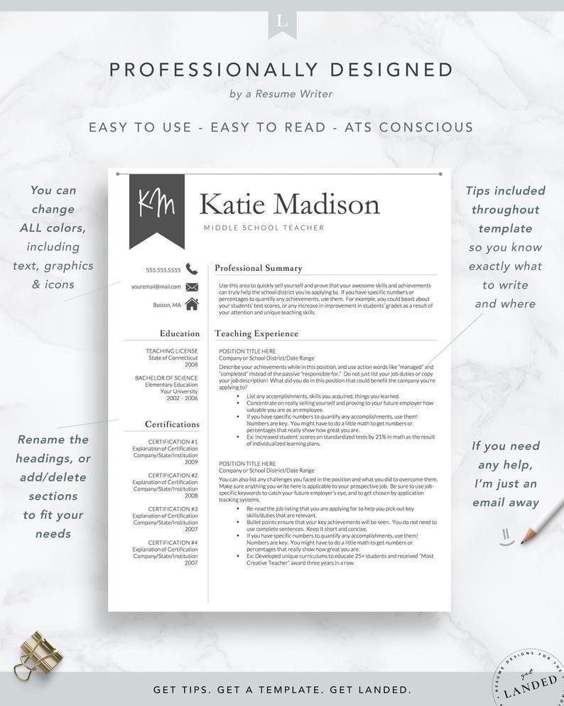 Teacher Resume Template Cover Letter For Ms Word Modern Cv Etsy Teacher Resume Template Teacher Resume Resume