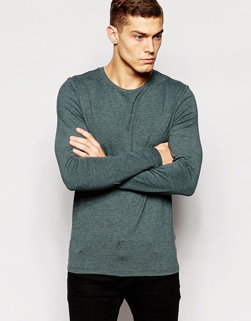 Image of asos muscle long sleeve tshirt with crew neck in green