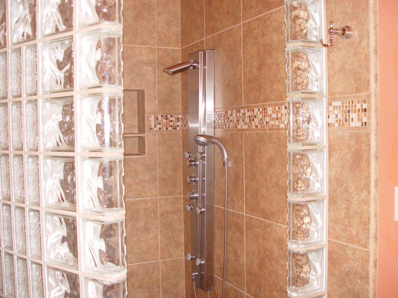 Mosiac Tile With Shower Panel And Glass Block Custom Shower. Design By Lori  Harakal Sedona