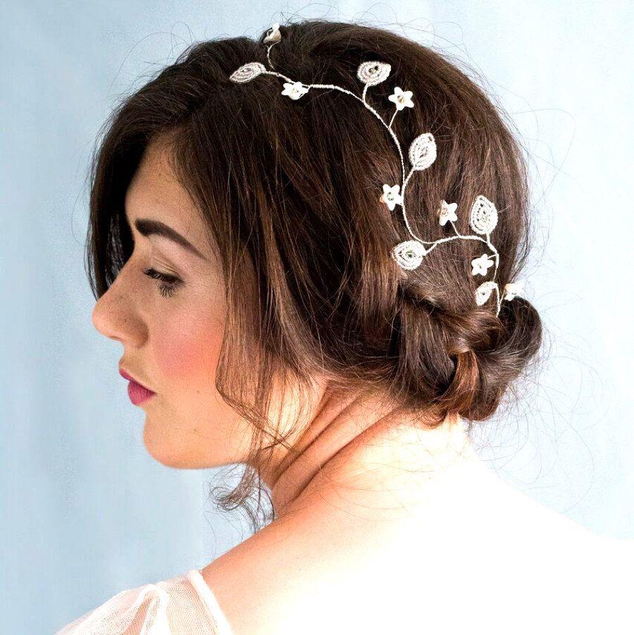 crystal and ivory flower bridal hair vine - flower hair vine