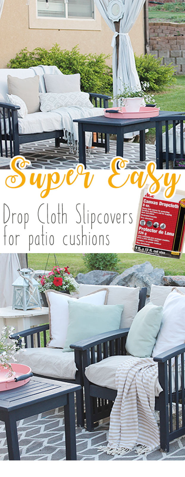 DIY Drop Cloth Patio Cushion Slipcovers. Easy Tutorial On How To Make New  Slipcovers Out