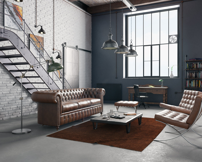 Furniture For Loft Fitted Industrial Loft With Vintage Furniture Journeys4goodcom Ind With Images Loft Living Room Furniture Loft Conversion Furniture Flat Interior Design