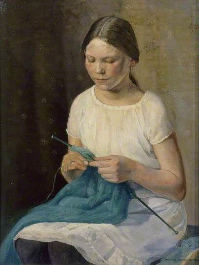 """Charlotte Lawrenson, """"Girl Knitting"""" 1925"""
