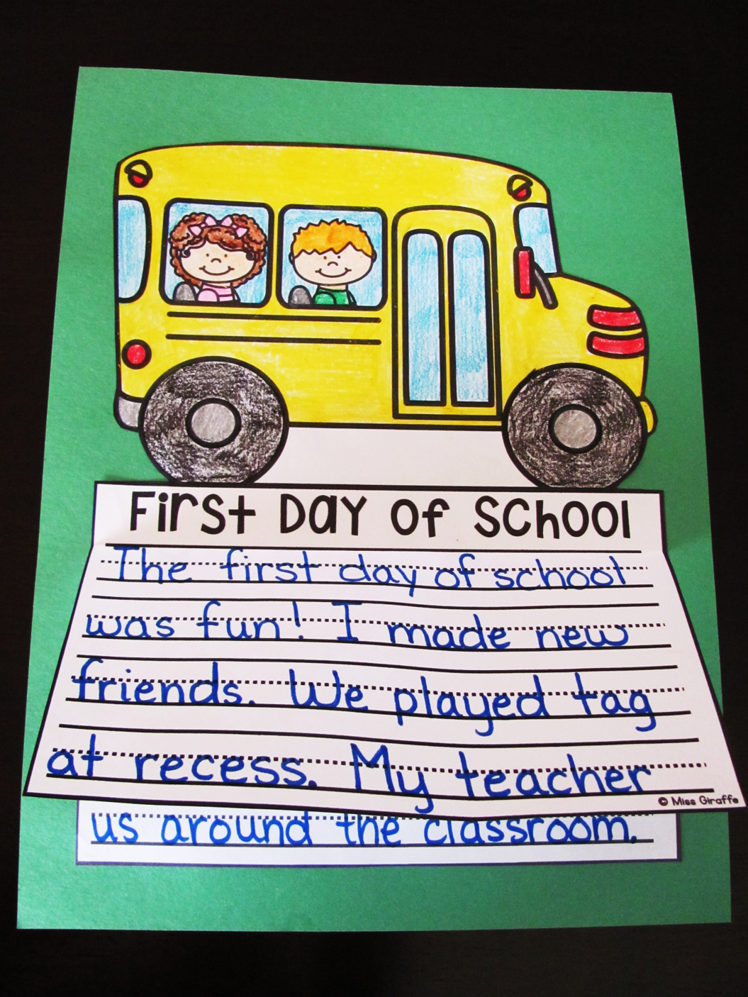 First Day of School writing activity that is no prep! Kids write, color, cut, glue - easy! Perfect beginning of the year activity - a lot more writing activities like this here too