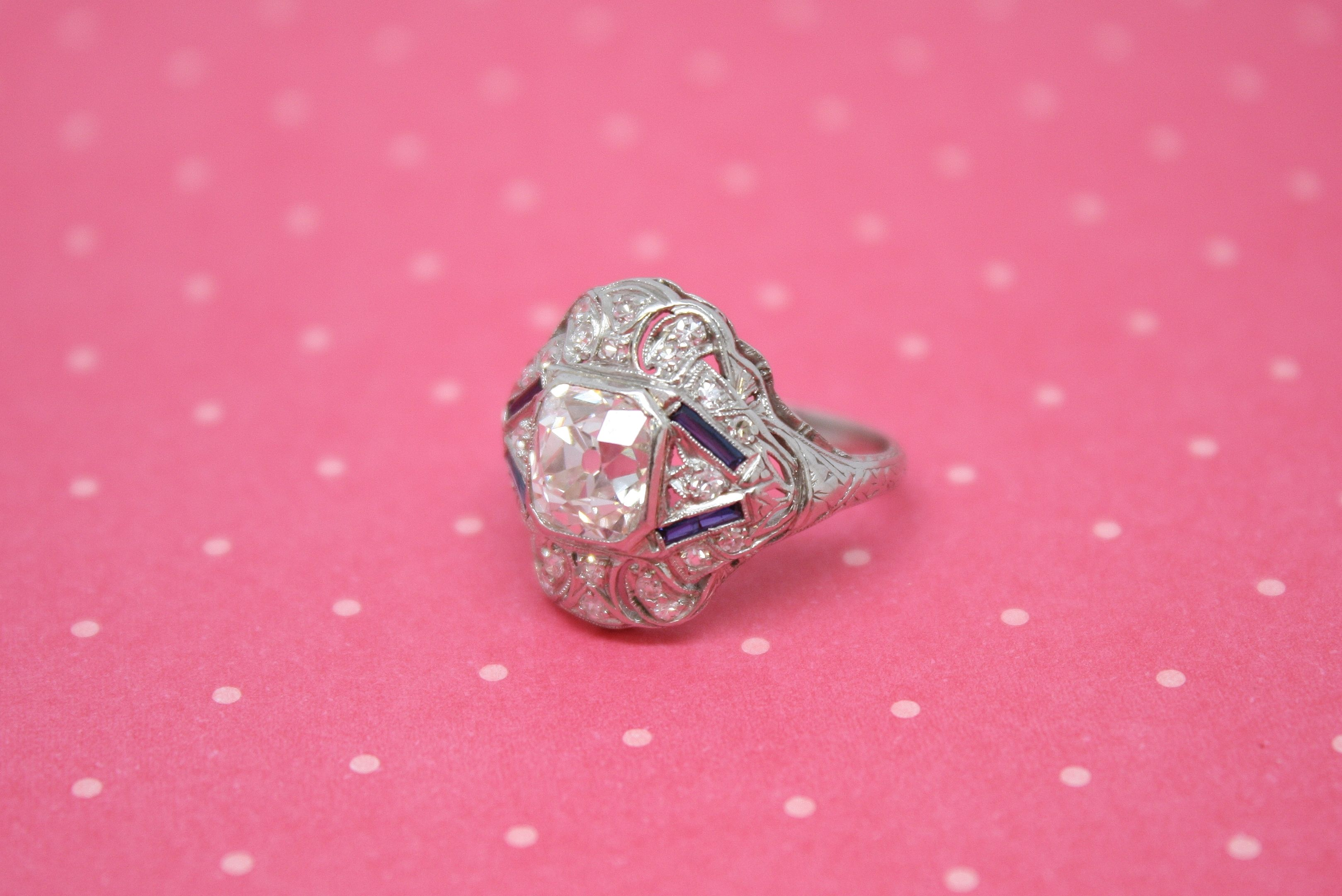 Check out Art Deco Platinum 1920\'s Bridal Ring with 2.05ct Old ...