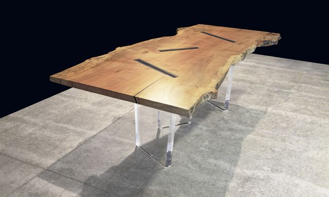 Delightful John Houshmand Furniture   DINING TABLESPALTED MAPLE DINING TABLE WITH  MELLOW LIVE EDGE WITH FOUR 2 Great Pictures