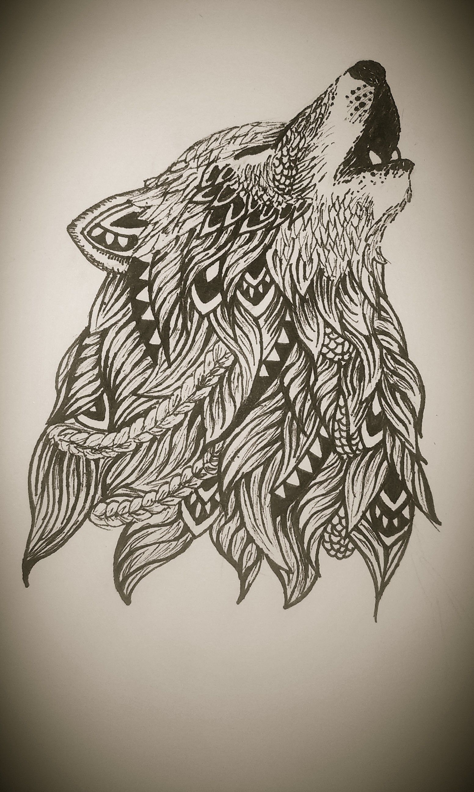 Advanced Wolf Coloring Pages : Zentangle wolf abstract doodle coloring pages