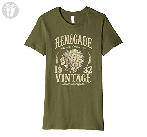 Womens Made In 1932 Birthday Gift T-Shirt Indian Chief XL Olive - Birthday shirts (*Amazon Partner-Link)