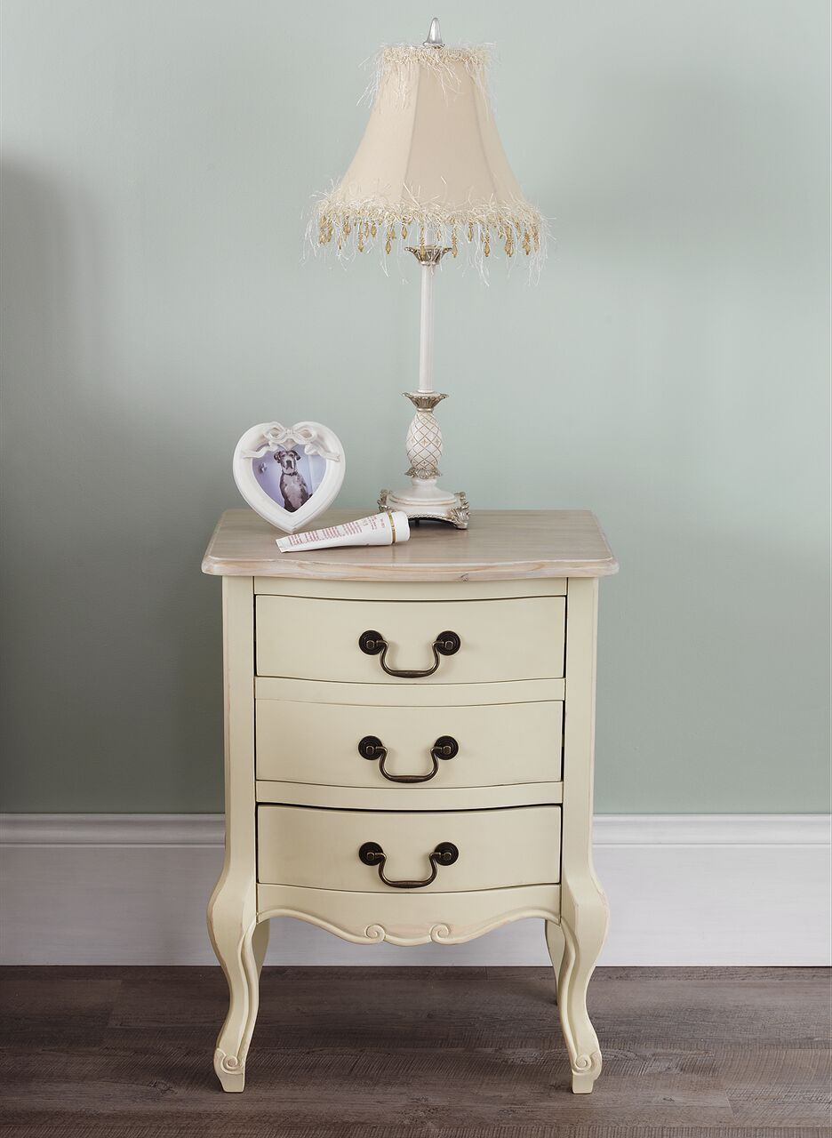 Cream Bedside Tables: Rochelle Shabby Chic Champagne Painted Three Drawer