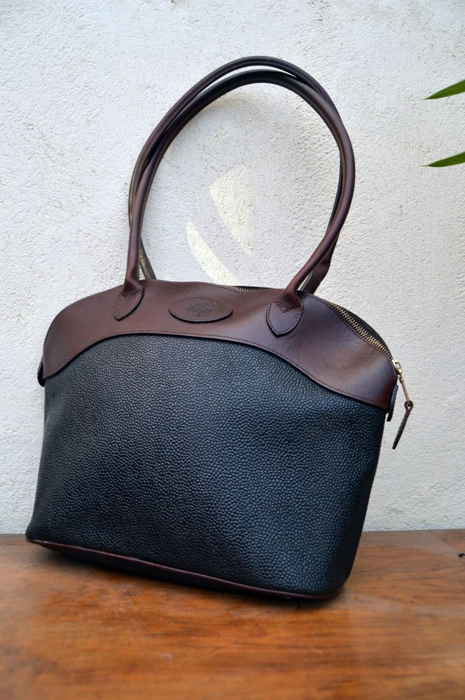 5c8210f6d93 Authentic Mulberry Mole and Brandy Breton Scotchgrain Shoulder Bag Vintage  VTG