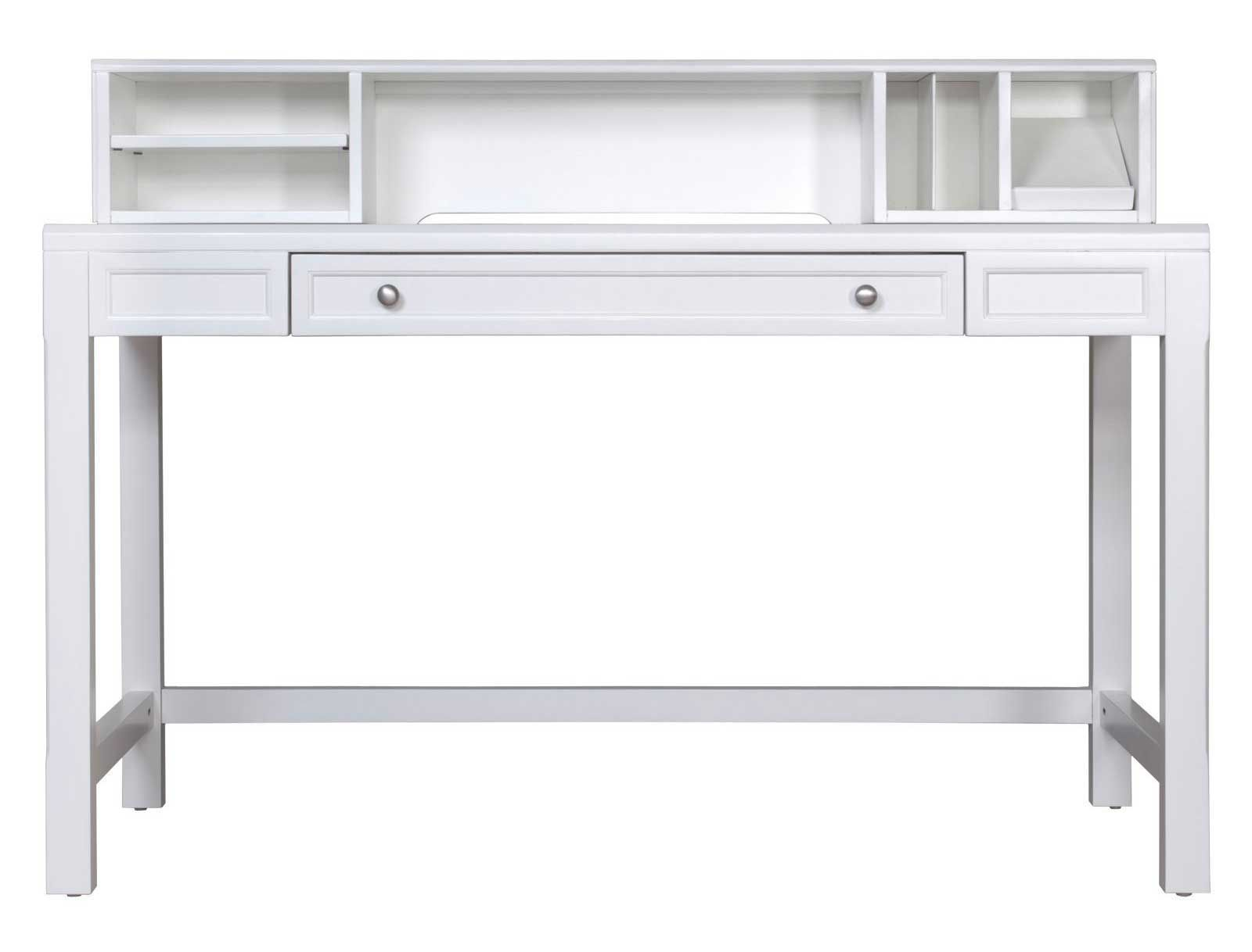 stylish white secretary desk with hutch and drawers design