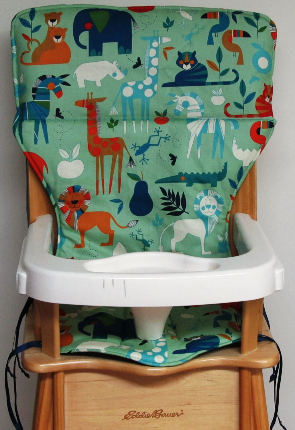Ed Bauer Wooden High Chair Pad Replacement Cover Art Deco Jungle By Sewingsillysister On Etsy