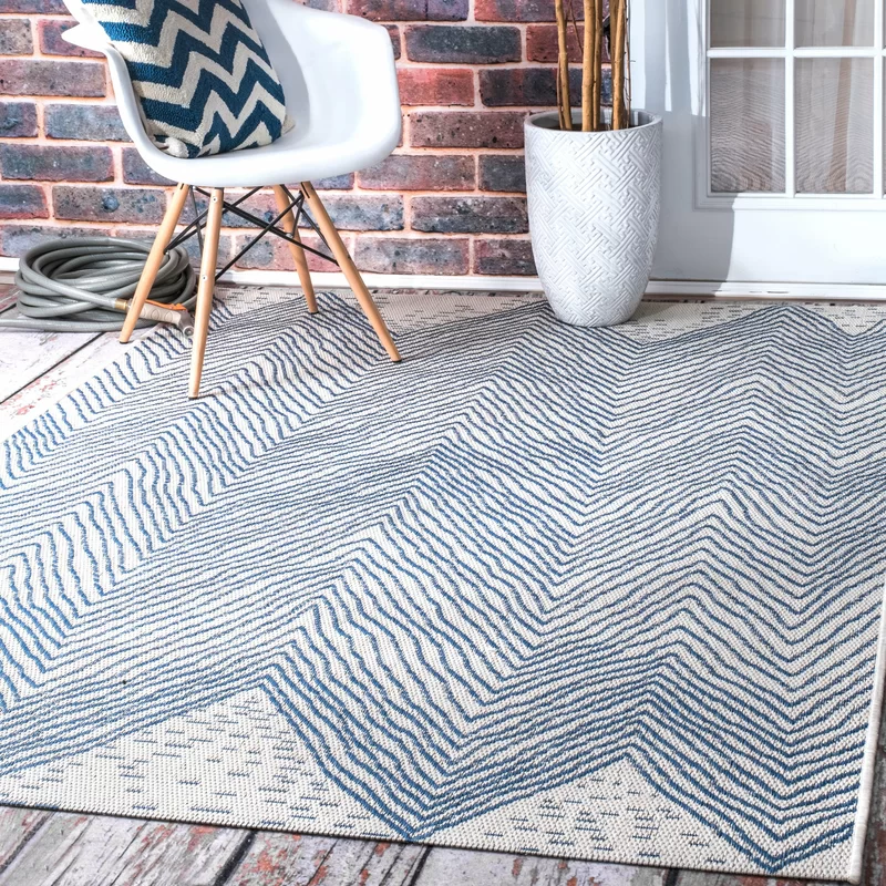 Carys Chevron Blue Indoor Outdoor Use Area Rug In 2020 Chevron Area Rugs Outdoor Area Rugs Area Rugs