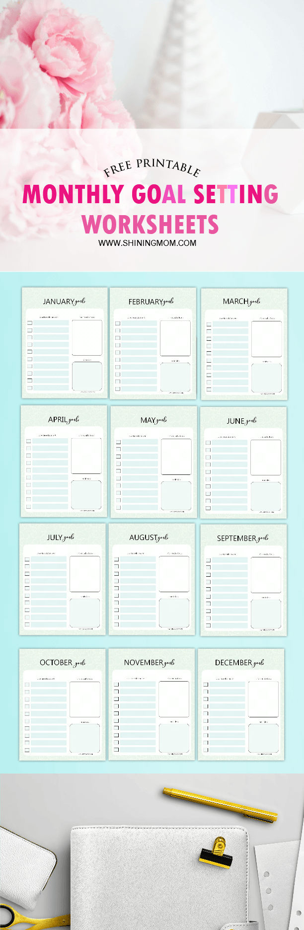 Free Printable Monthly Goal Sheets From Shiningmom.com