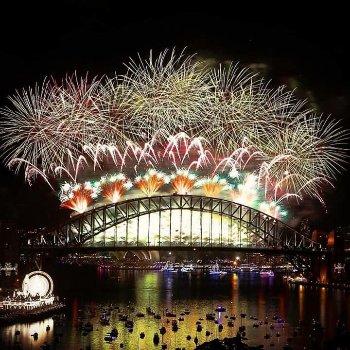 Sydney Harbour Bridge New Year's Eve fireworks. New year