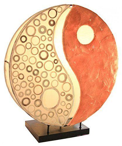 Deko Leuchte Yin Yang aus Capiz und Bambus, 30cm, Tischleuchte in 2 Farben erhältlich, Farbe:Orange