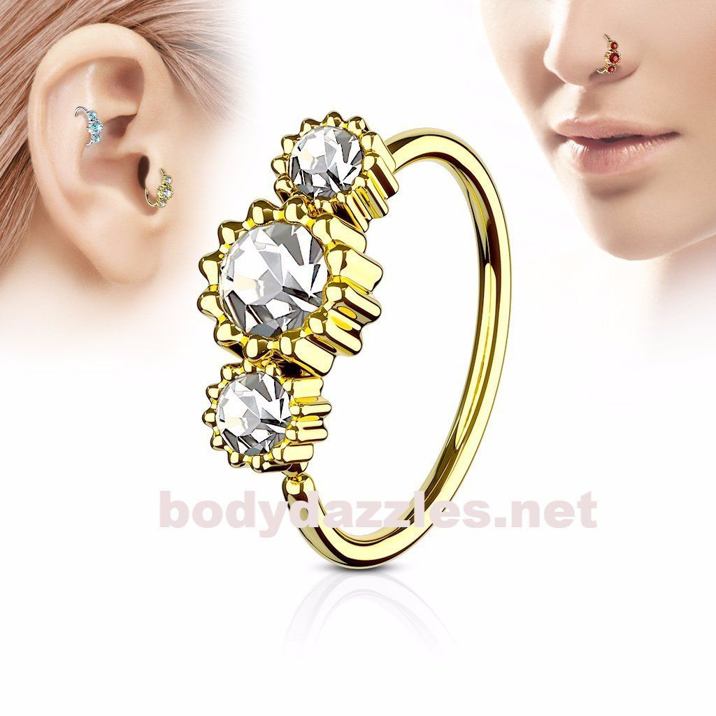 Clear nose piercing  Clear Round Clear CZ Set Gold IP Plated L Surgical Steel Hoop