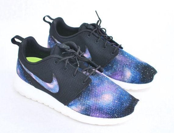 timeless design ef3d4 6aaf1 Custom Galaxy Nike Roshe Run - Hand Painted Blue Galaxy on Black Roshes -  Galaxy Print on Nike Swoos