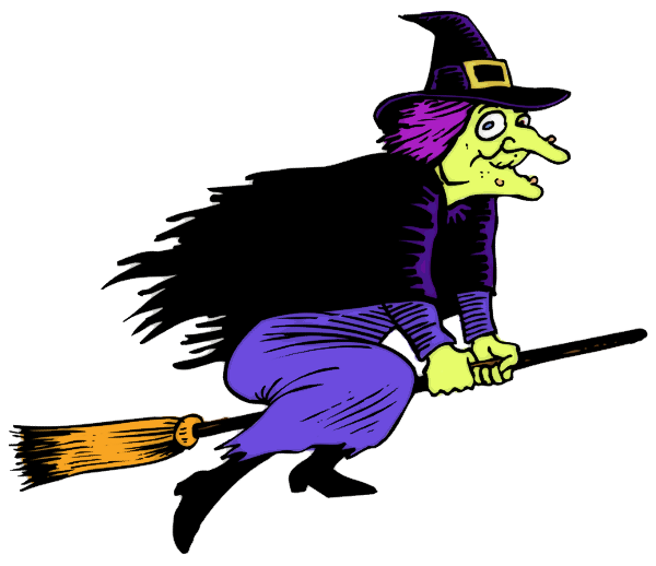 witch with warts flying - Flying Halloween Witch
