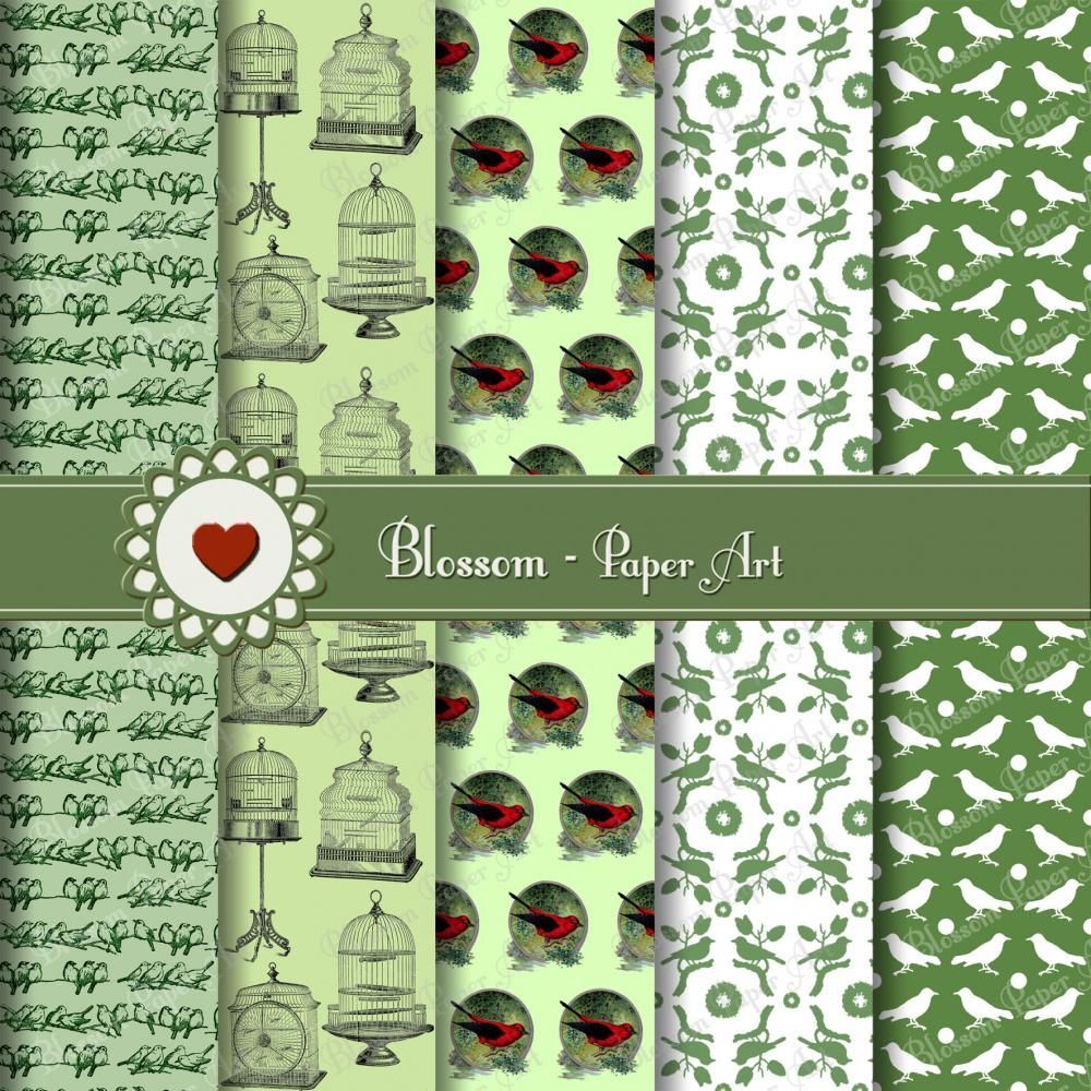 Digital scrapbooking kits free all about scrapbooking ideas - Digital Scrapbooking Paper Green Vintage Birds