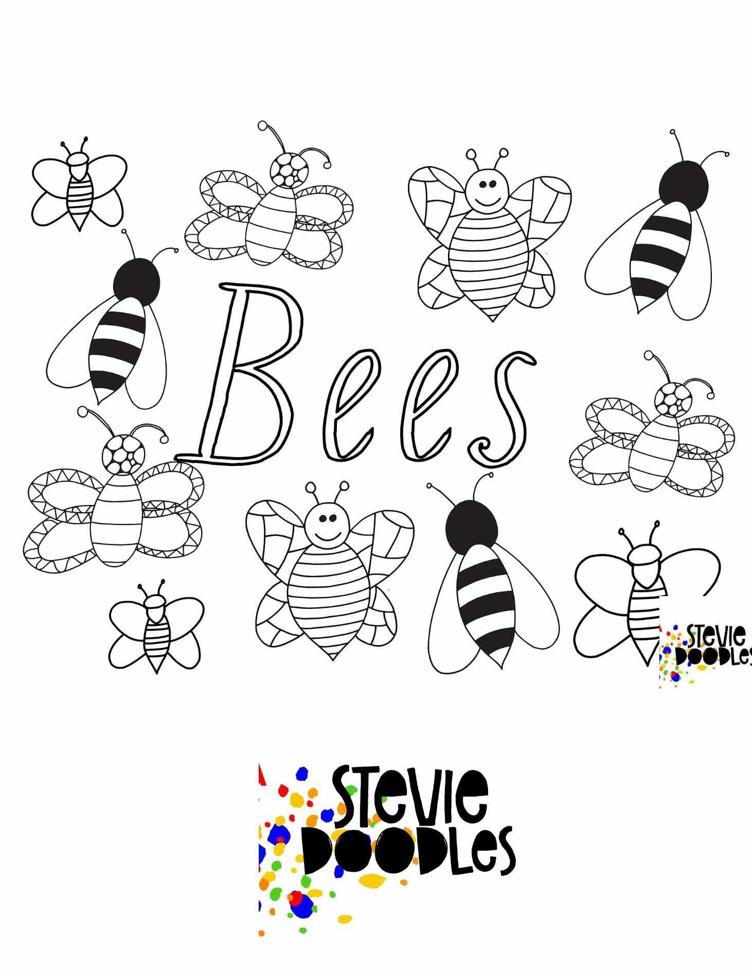 Bees Free Printable Coloring Page Stevie Doodles Bee Coloring Pages Free Printable Coloring Pages Free Printable Coloring