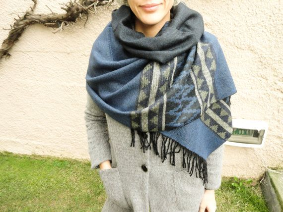 Blue oversized blanket scarf navy blue blanket by Handemadeit