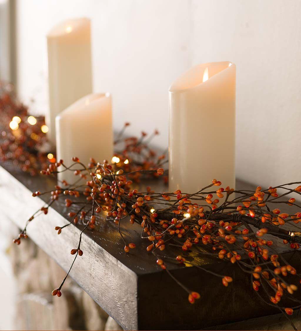 Lighted Autumn Berry Garland