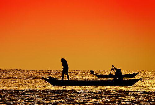 Pescando ao por-de-sol