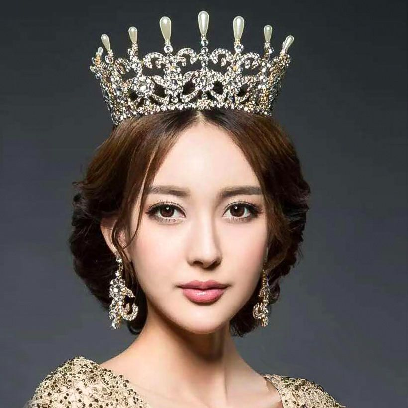 Hairstyles With Crown Queen: Women Royal Crown Crystal Wedding Tiaras Queen Party