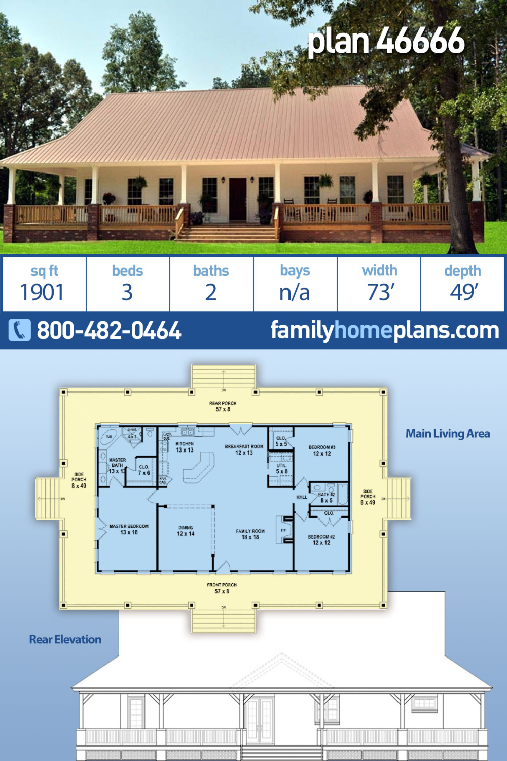 Traditional Style House Plan 46666 with 3 Bed , 2 Bath in ...