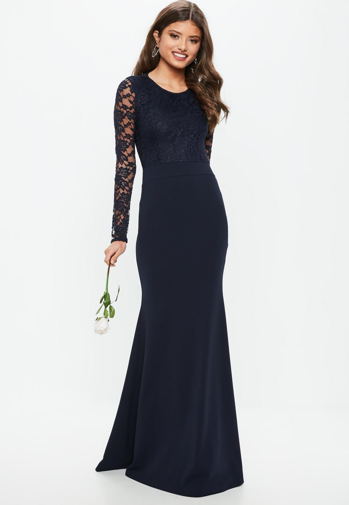 67440bb5fb4 Missguided - Bridesmaid Navy Round Neck Lace Insert Fishtail Maxi Dress