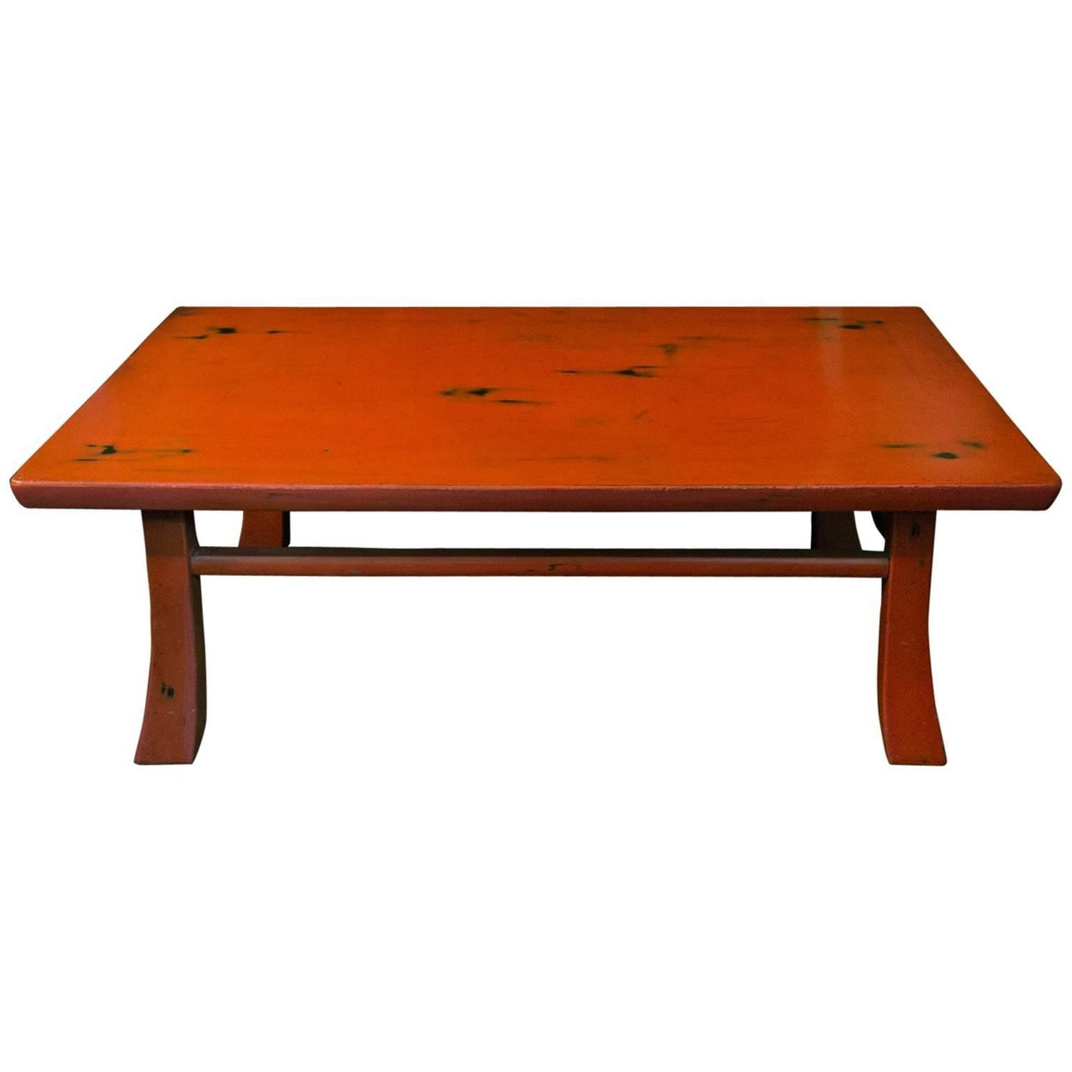 vintage japanese style negoro nuri lacquer low table from a