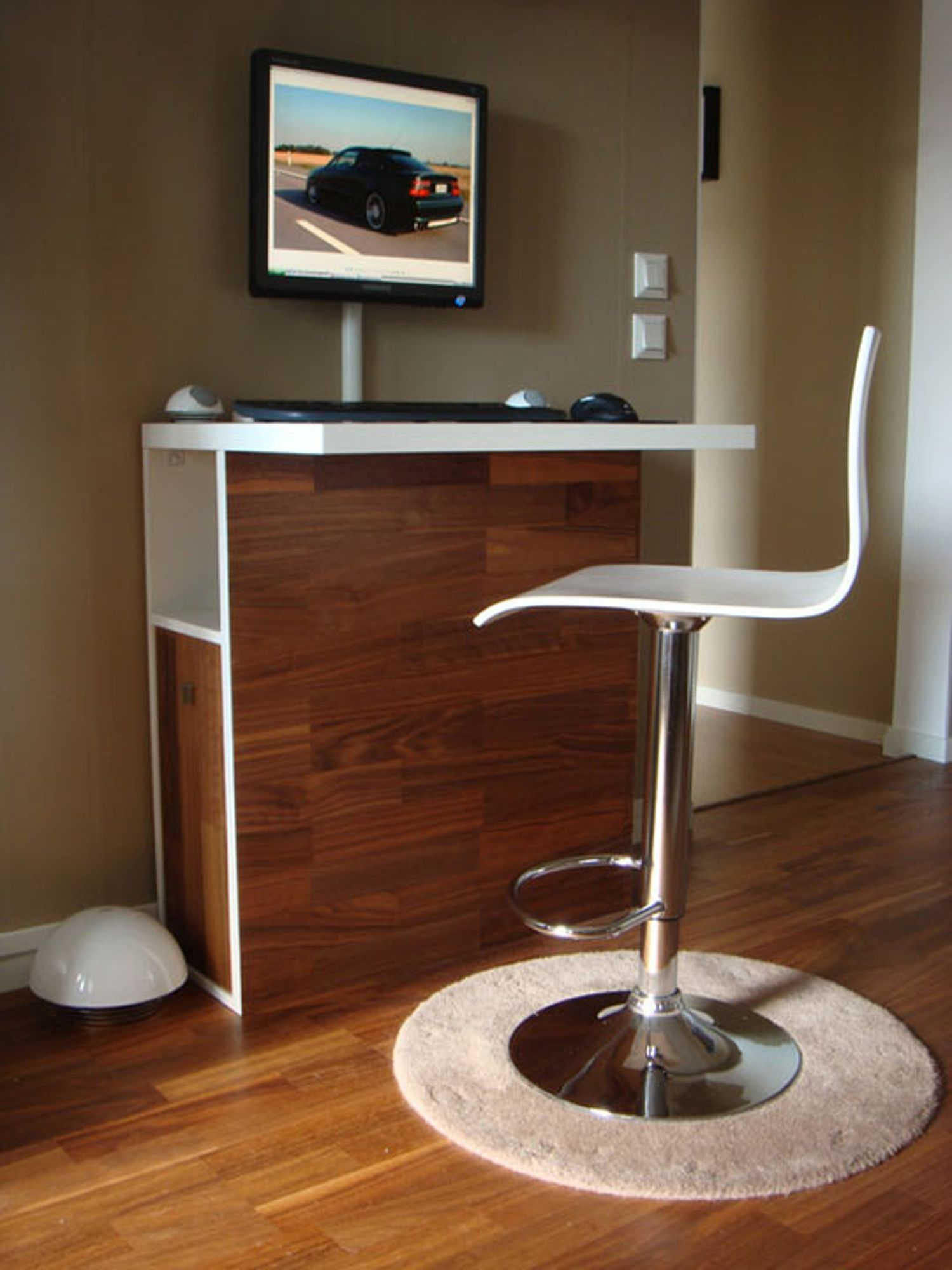 Tall And Sleek Workstation Tucks Away Desktop Tower Workstation Diy Computer Desk Home Bar Furniture