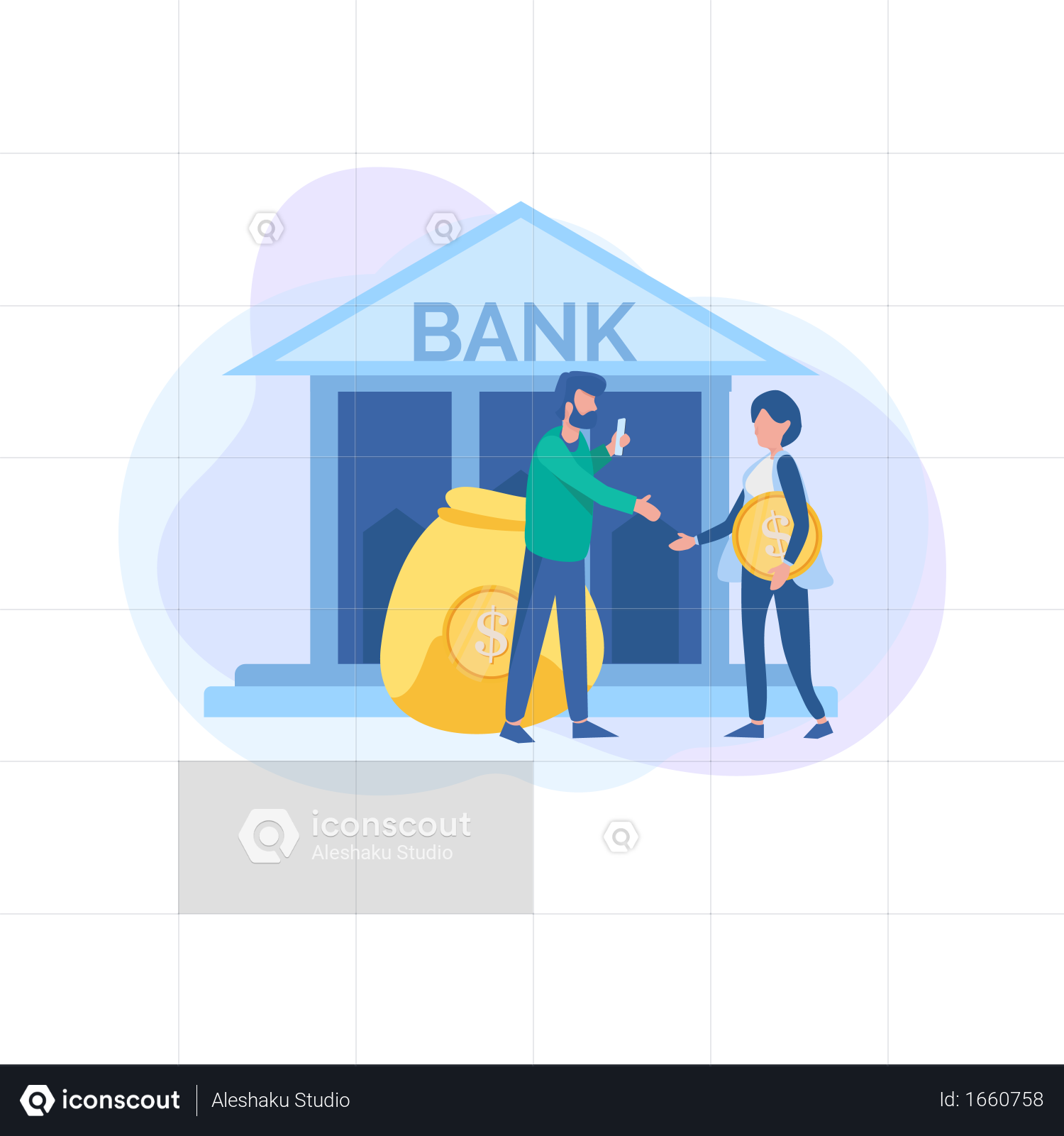 Premium Saving Money In Bank Is More Secure Illustration Download In Png Vector Format Saving Money Business Illustration Flat Design Illustration