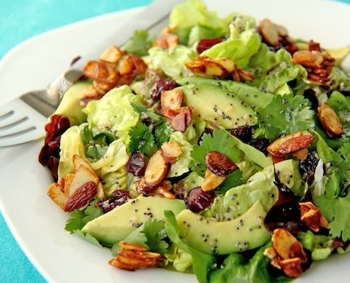Um hello, get in my belly! Cranberry-Avocado Salad with candied spiced almonds and sweet white balsamic vinaigrette, honestcooking.com
