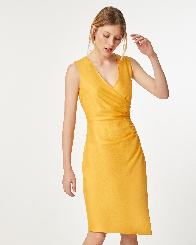 Leinenkleid in Wickeloptik - Kleider - Bekleidung  Fashion