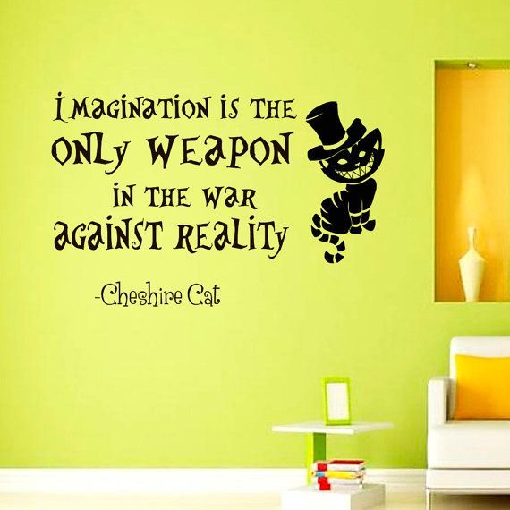 Alice in Wonderland Wall Decal Cheshire Cat Quote Imagination Is The ...
